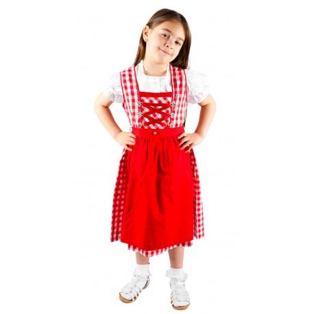 Kinderdirndl Rot/weiß inkl. Bluse 3 Teiliges set