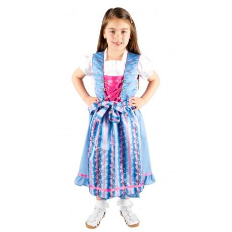 Kinderdirndl blau/pink inkl. Bluse 3 Teilisges set