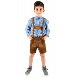 Kinderlederhoseset hellbraun+blaues Hemd