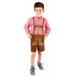 Kinderlederhosenset hellbraun+rotes Hemd