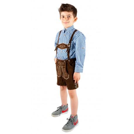 Kinderlederhoseset dunkelbraun+blaues Hemd