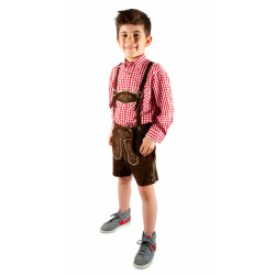 Kinderlederhoseset dunkelbraun+rotes Hemd