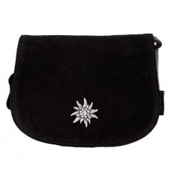 Handtasche/ Trachtentasche klein Lady Edelweiss schwarz echtes Leder Handy/ -Innentasche