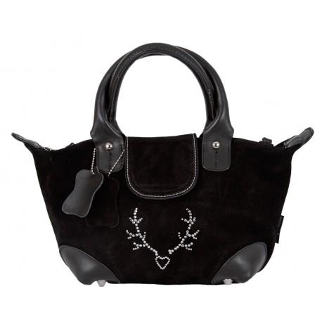 Handtasche/ Trachtentasche klein Lady Edelweiss schwarz mit Strass Echtleder