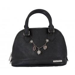 Handtasche/ Trachtentasche Lady Edelweiss inkl. Träger abnehmbar schwarz mit Charivari
