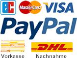 EC, MasterCard, VISA, PayPal, Vorkasse und Nachnahme